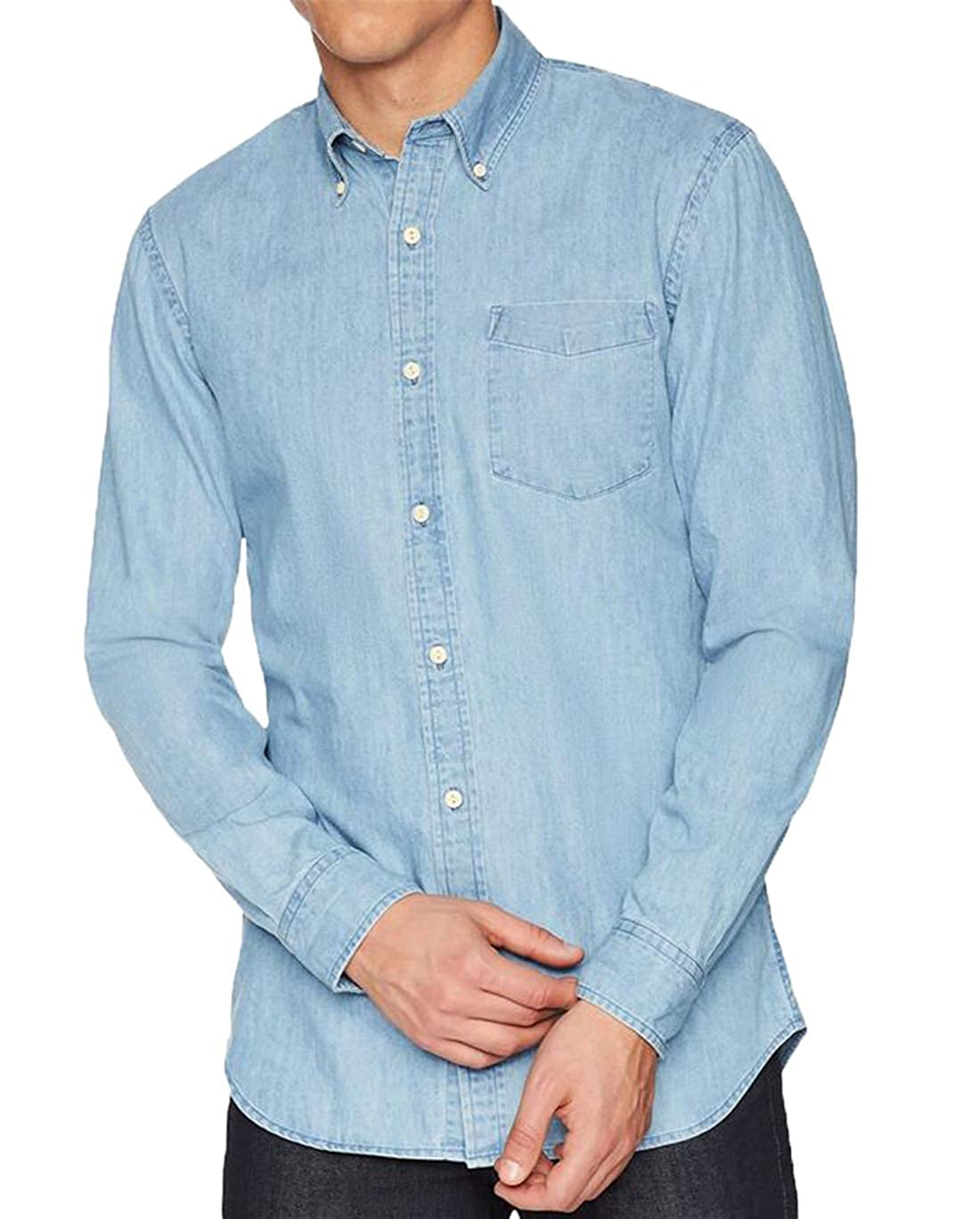 Hilization Mens Casual Stylish Long Sleeve Button Down Cotton Pocket Jeans Denim Shirts