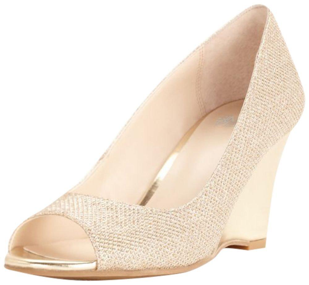Simply Pelle Glitter Peep Toe Wedge Style Wendie, Gold Metallic, 8.5