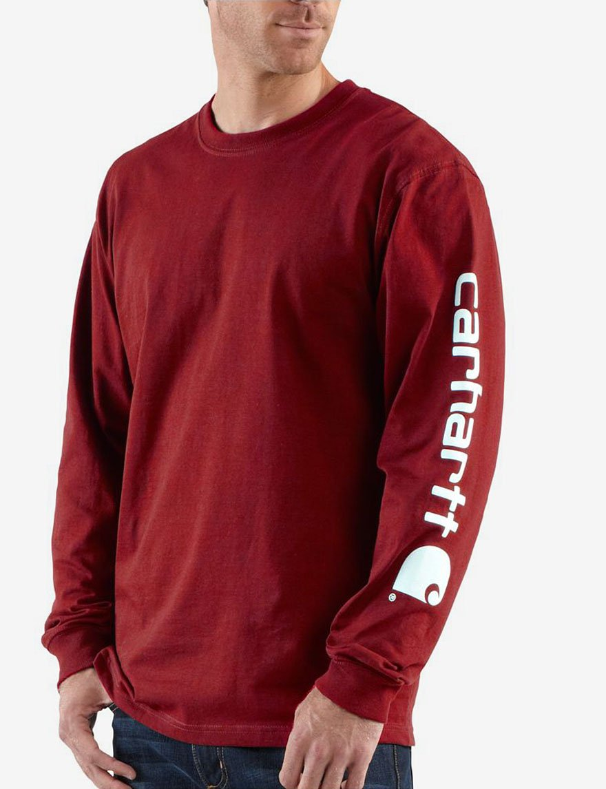 Carhartt Men's Signature Sleeve Logo Long Sleeve T-Shirt K231 (Black, XXX-Large)