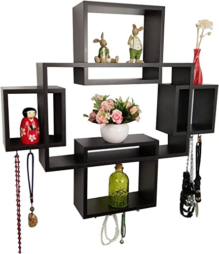 Shelving Solution Intersecting Squares Wall Shelf Included with 12 Hooks Espresso, Set of 5