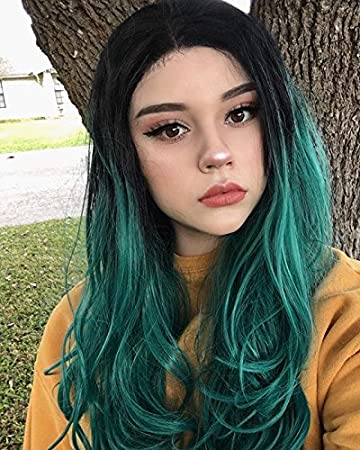 Amazon Com Musegetes Lace Front Wig Ombre Green Dark Roots Long