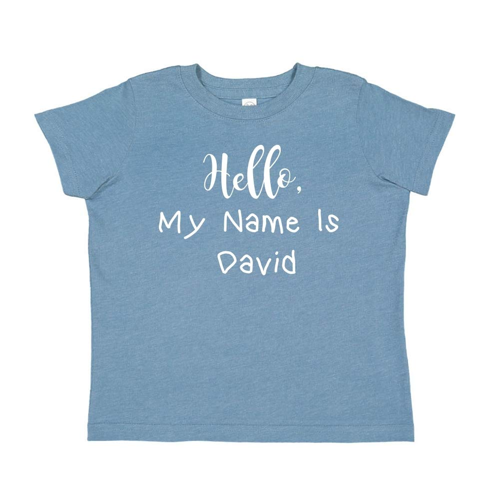 Mashed Clothing Hello My Name is David Personalized Name Toddler//Kids Short Sleeve T-Shirt