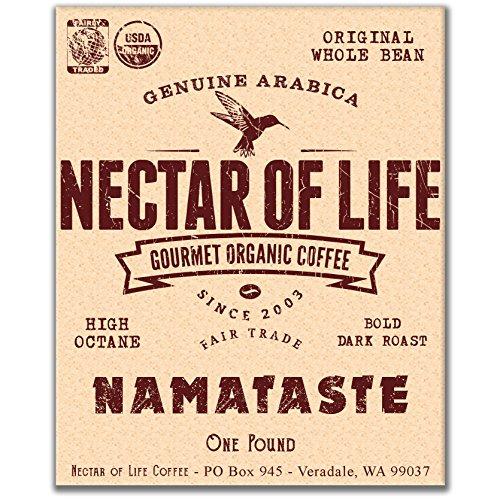 Whole Bean Organic Coffee – NAMATASTE – 1 LB – Nectar of Life Fair Trade Dark Roast Coffee Beans – USDA Certified Organic – Gourmet Organic Coffee