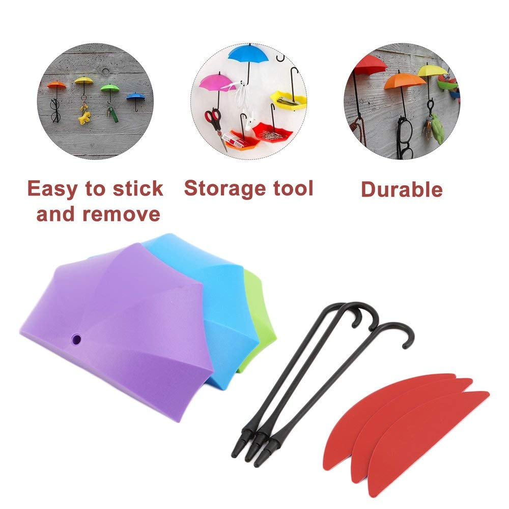 Amerryllis 3 Colors Umbrella Wall Hook Portable Storage Rack Bedroom Wall Decor Modern Key Holder Colorful Home Organizer Hooks and curtains on the wall