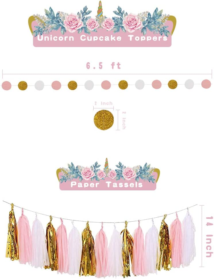 JOPARY Unicorn Birthday Decorations for Girls Unicorn Baby Shower Decorations with Happy Birthday Banner Paper Flowers Unicorn Cupcake Toppers Dot Paper Garland Paper Tassels