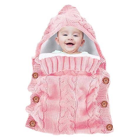 KOBWA - Manta de ganchillo para bebé recién nacido, saco de dormir de 6 a