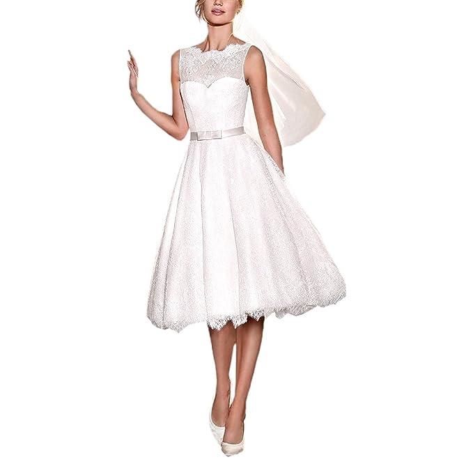 VIPbridal Scoop sin mangas de espalda abierta té vestido de novia de longitud (46, Marfil): Amazon.es: Ropa y accesorios