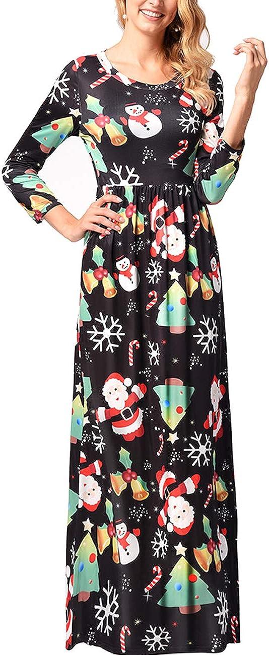 TALLA 3XL=ES 50-52. FeelinGirl Mujeres Vestido Largo Estampado Floral de Fiesta Navidad Falda Maxi de Manga Larga Nochebuena Multicolor-05 3XL=ES 50-52