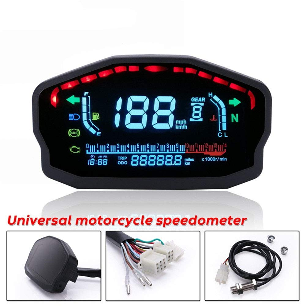 Amazon com: CHUDAN Universal Motorcycle LED Speedometer LCD