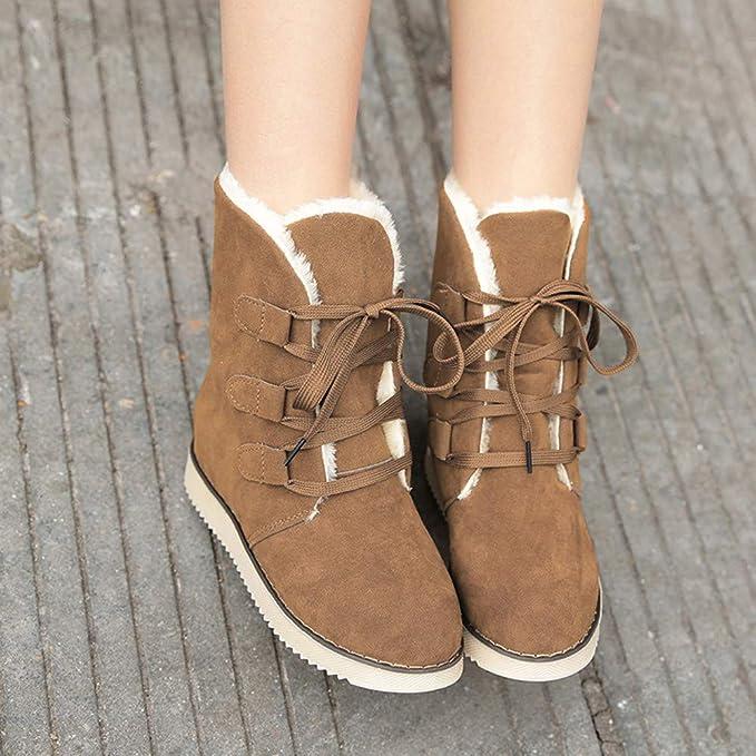 POLP Botas Zapatos señora Invierno Botas Botines y Botas Altas Mujer Además de Terciopelo Mantener Caliente Impermeable Antideslizante Zapatos de algodón ...