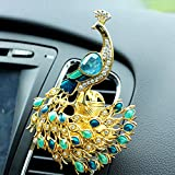 AMind Car Air Freshener Peacock Ornament Aromatherapy Essential Oil Diffuser Diamond Locket Car Fragrance Diffuser Vent Clip Bling Car Interior Accessories Best Car Decoration without Car Perfume, Pe