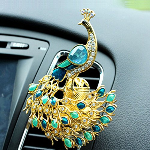 Car Air Freshener Jasmine Aromatherapy Essential Oil Diffuser Diamond Locket with Car Perfume Car Fragrance Diffuser Vent Clip Bling Car Interior Accessories Best Car Decoration , AMind (Peacock)