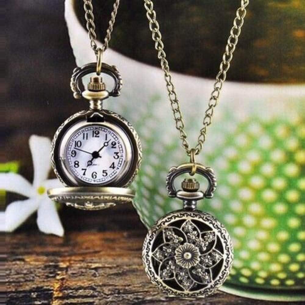 HELBOD Reloj de Bolsillo Unisex Vintage Hollow Crown Bronce Quartz Pocket Dress Reloj Colgante Collar