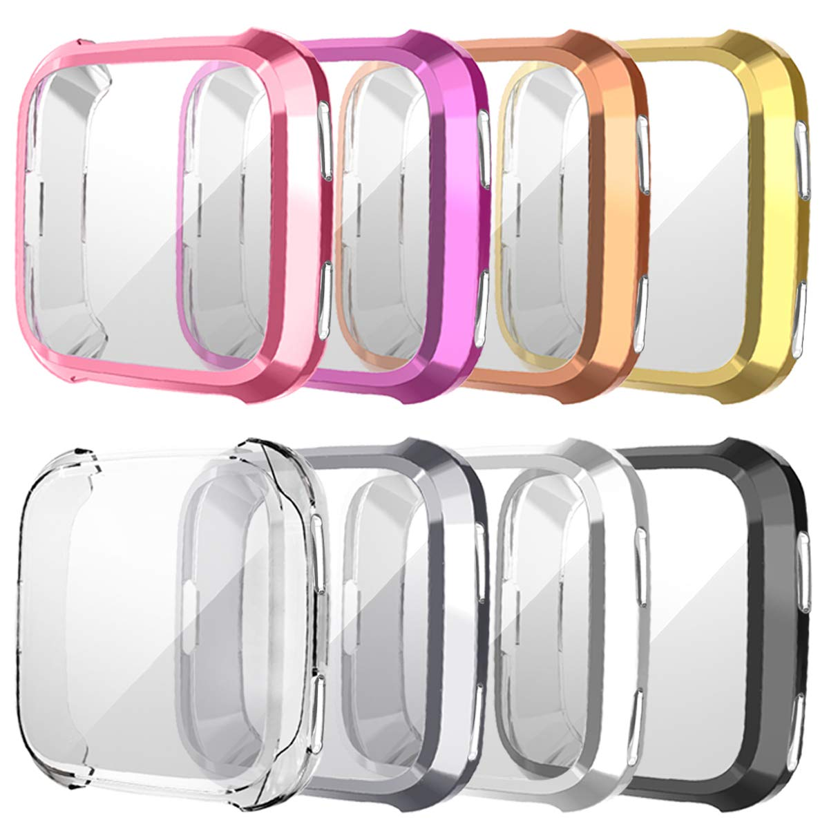 8 Pack Screen Protector Case for Fitbit Versa, Haojavo Soft TPU Slim Fit Full Cover Screen Protector for Fitbit Versa Smartwatch Bands Accessories by Haojavo