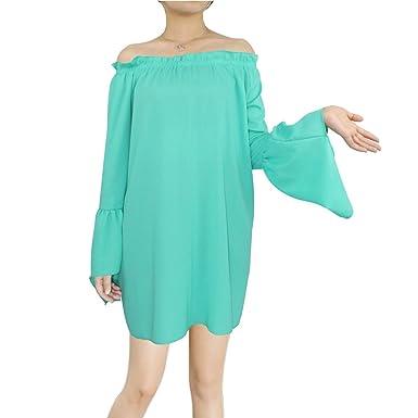 BienBien Blusa de Moda 2017 Chiffon Camisetas Mujer Verano de Manga Larga Cuello Ancho Fuera de Hombro Kaftan Túnica Da Playa Casual Mini Vestido: ...