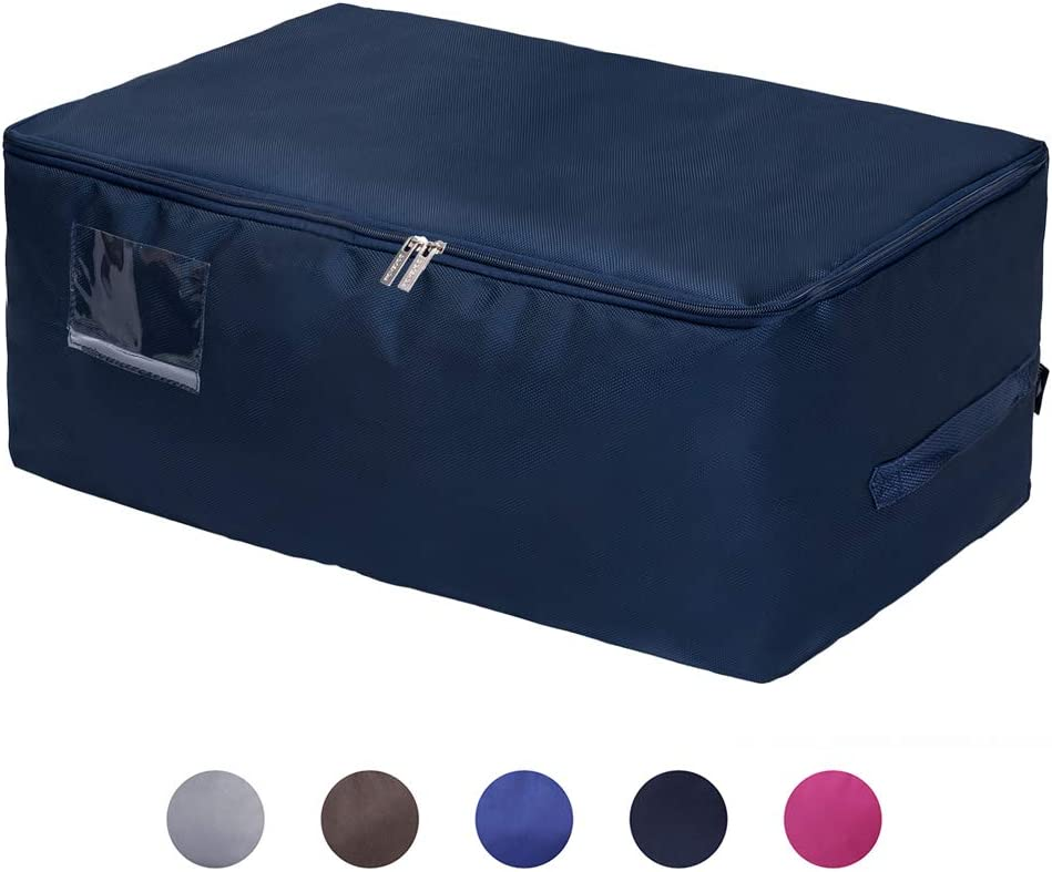DOKEHOM Large Under Bed Storage Bag (5 Colors), Thick Ultra Size Fabric Clothes Bag, Moisture Proof (Dark Blue, L)