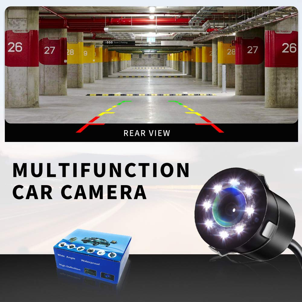 Front View Auto Backup Reverse Backing Camera HD 8 LEDs Night Vision 170/° Wide View Angle Waterproof IP67 for Cars Bus Trucks Circle with Light Car Rear View Parking Camera