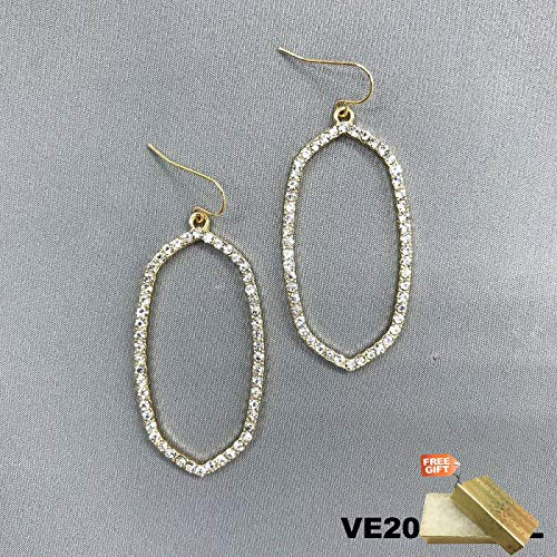 Elegant Gold Tone Clear Rhinestone Open Cut Oval Shaped Drop Dangle Earrings For Women Set + Gold Cotton Filled Gift Box