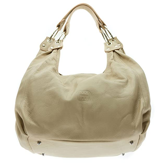 e83c62b48d Amazon.com  Cosette Italian Made Beige Soft Leather Slouchy Hobo Shoulder  Bag  Shoes