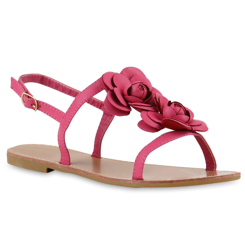 Stiefelparadies Damen Sandalen Zehntrenner Uuml;bergrouml;szlig;en Flandell  37 EU|Pink Blumen Schnalle