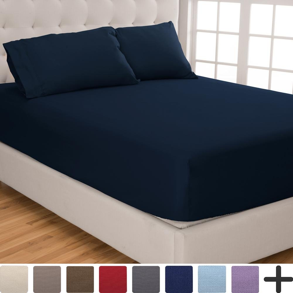 Fitted Sheet + Pillowcase Set - Premium 1800 Ultra-Soft Microfiber - Hypoallergenic - Wrinkle Resistant (Queen, Dark Blue)
