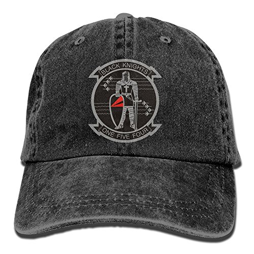 US Navy VF-154 Black Knights Squadron Unisex Adjustable Cotton Denim Hat Washed Retro Gym Hat FS&DMhcap Cap Hat
