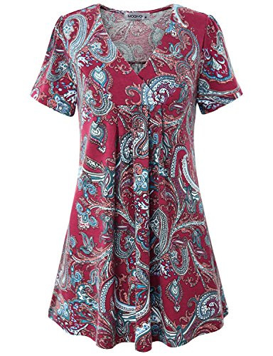 (MOQIVGI Flower Shirt, Women Chic Summer Short Sleeve Top Pretty Retro Patterned Party Tunic Classy Stretchy Printed Daily Wear V Neck Casual A-line Trapeze Blouse Multicoloured Wine Large)