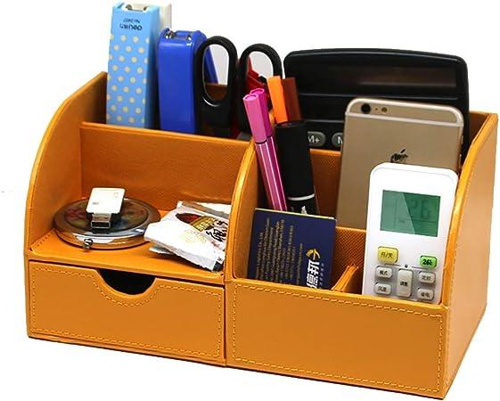 Organizzatore da scrivania Portamatite multifunzione in pelle Telefono cellulare carta per appunti supporto per telecomando Forniture per ufficio a casa Nero