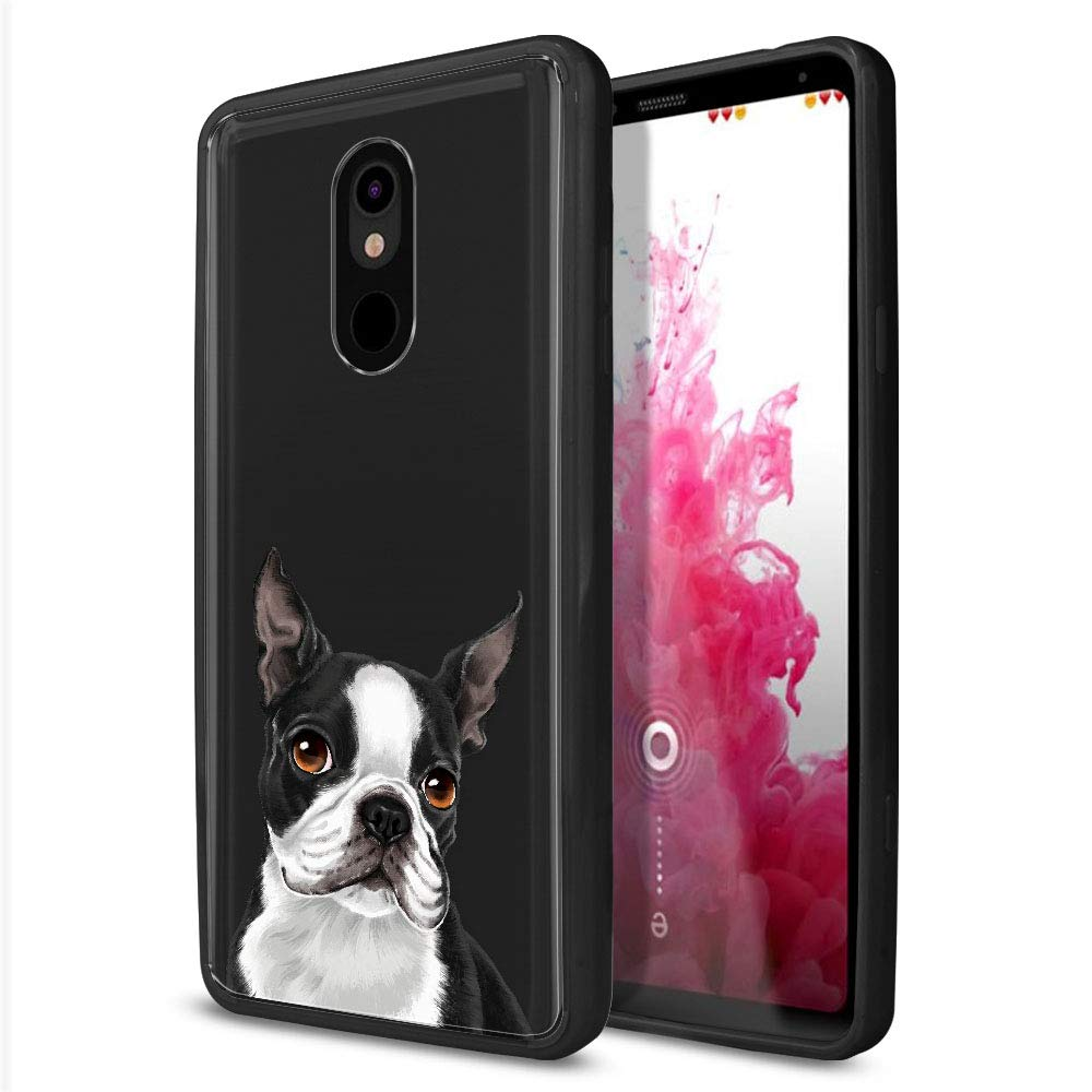 FINCIBO Case Compatible with LG Stylo 5, Slim Shock Absorbing TPU Bumper + Clear Hard Protective Case Cover for LG Stylo 5 - Cute Boston Terrier Dog