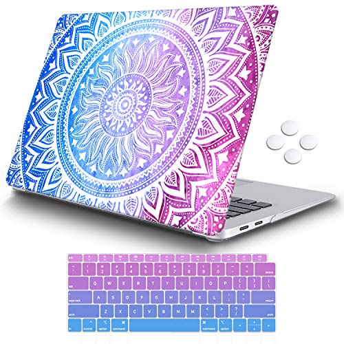 iCasso MacBook Air 13 Inch Case 2018 Release A1932 with Retina Display, Durable Rubber Coated Plastic Cover with Keyboard Cover Compatible Newest MacBook Air 13 with Touch ID, Purple Medallion