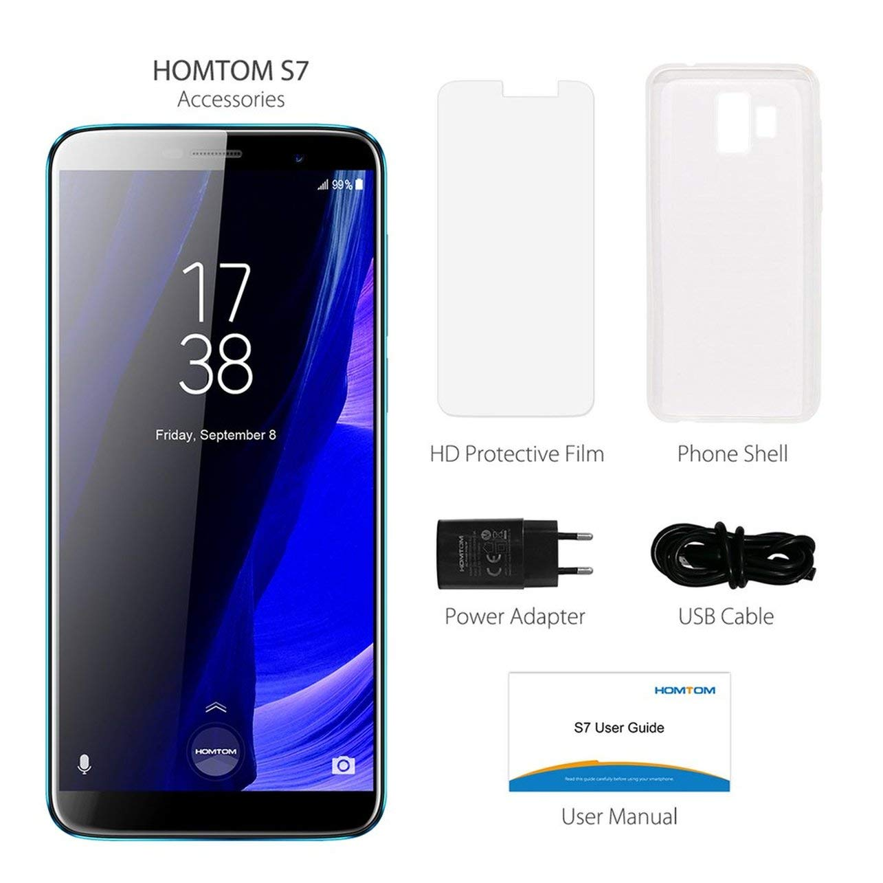 5.5inch HOMTOM S7 Smartphone 3GB + 32GB Ouad Core para Android 7.0 ...