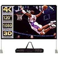 Projector Screen with Stand 120 inch 16:9 HD 4K Outdoor Indoor Projection Screen for Home Theater 3D Fast-Folding Projector Screen with Stand Legs and Carry Bag Projection Movie Wrinkle-Free…