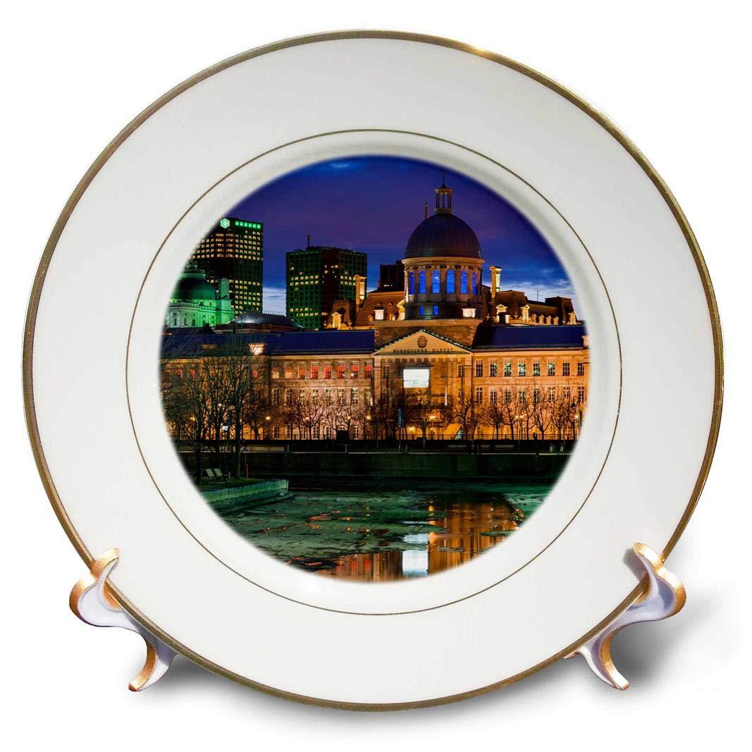 8 3D Rose Canada-Montreal-Old Port-Market Building-Dusk Porcelain Plate