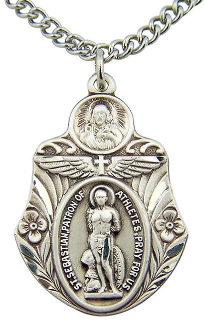 Amazon saint sebastian medal 1 12 inch sterling silver saint sebastian medal 1 12 inch sterling silver athletic protection pendant aloadofball Images