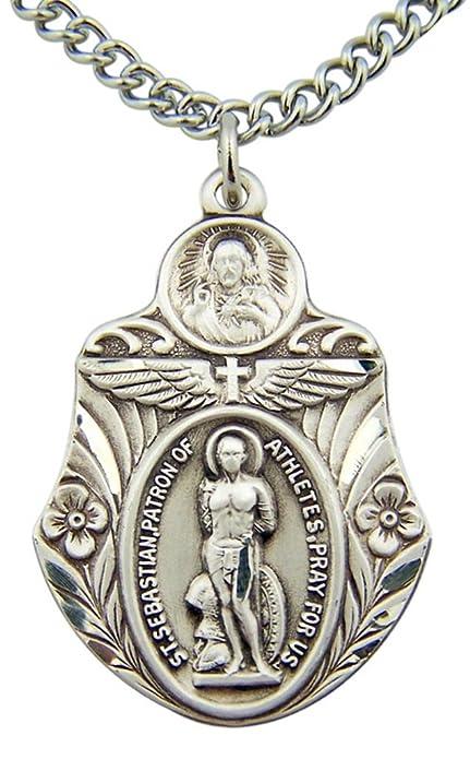 Amazon.com: Plata de ley Medalla de San Sebastian 1 1/2 inch ...