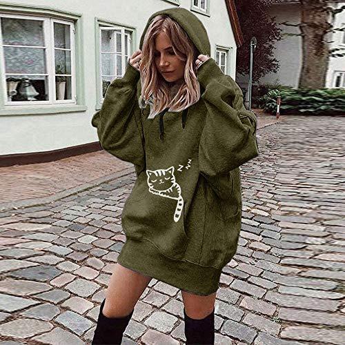 Blouse Knit surdimensionnés pour manches à longues Army Shirt capuche en Shirt Patchwork Streetwear Sweats Chemisiers vrac femmes New Automne pour Green Pull Mode Robe Hiver femmes Tops Oliviavan Vêtements HBZw5Z