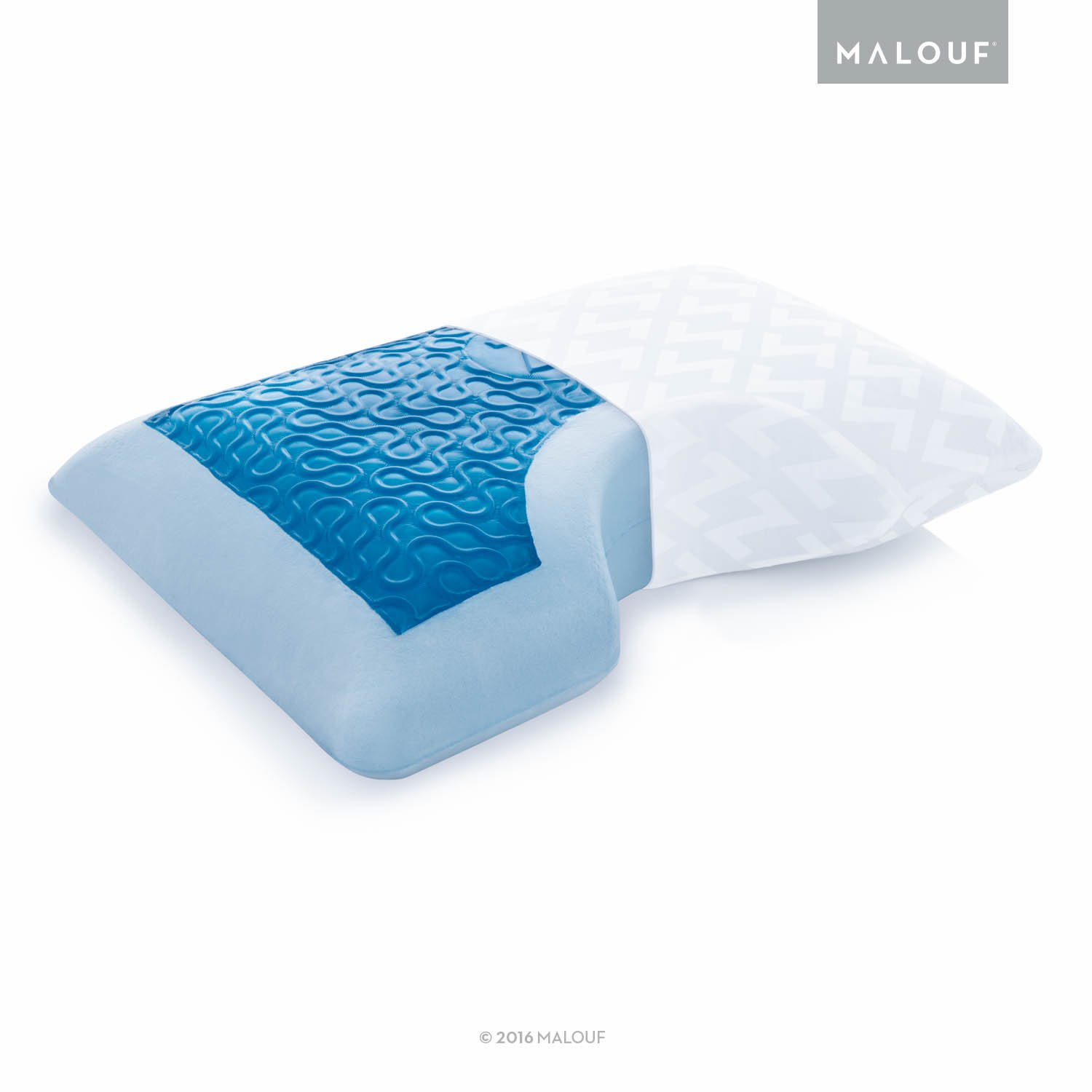 Z Side Sleeper Shoulder Cutout Gel DOUGH Memory Foam Pillow with Liquid Gel Layer - Queen