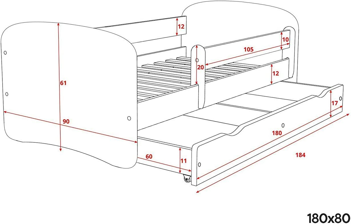 BD, White Toddler Girl Bed Kids Bed Princess Childrens Single Bed with Mattress and Drawer Included Safari,140x70