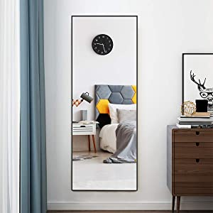CHARMAID Full Length Mirror, 59inch x 22inch Large Rectangle Bedroom Mirror, Standing or Wall-Mounted Dressing Mirror for Living Room Bedroom Hallway Closet, Floor Mirror with Aluminum Frame (Black)