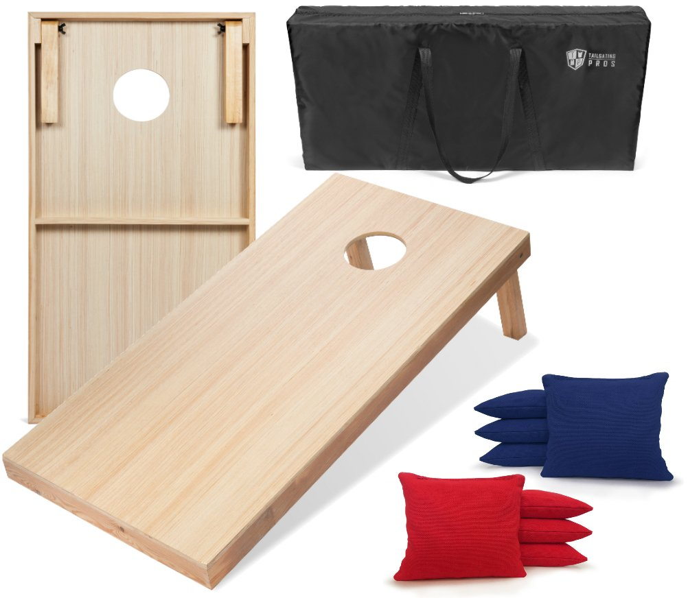 Tailgating Pros 4'x2' WoodGrain Finish Cornhole Boards w/Carrying Case & set of 8 Cornhole Bags (YOU PICK COLOR) 25 Bag Colors! (Red/Royal Blue)