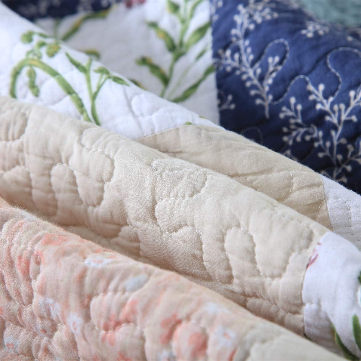 Qucover Couvre Lit Matelass/é Couverture Patchwork Courtepointe en Coton 100/% Nordique Parure de Lit Air Conditionn/é Traditionnel boutis 3 Pi/èces Grande