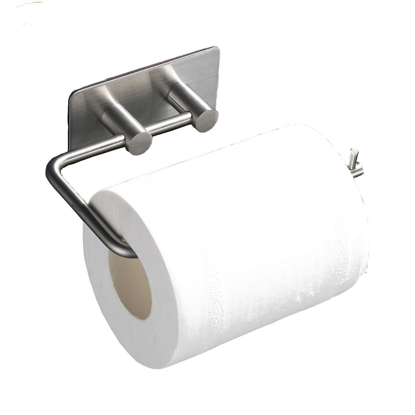 Judeen Sticky Self Adhesive Toilet Tissue Paper Roll Storage Holder, SUS 304 Stainless Steel Toilet Paper Hanger, Kitchen Bathroom Towel Dispenser, Brushed Finish