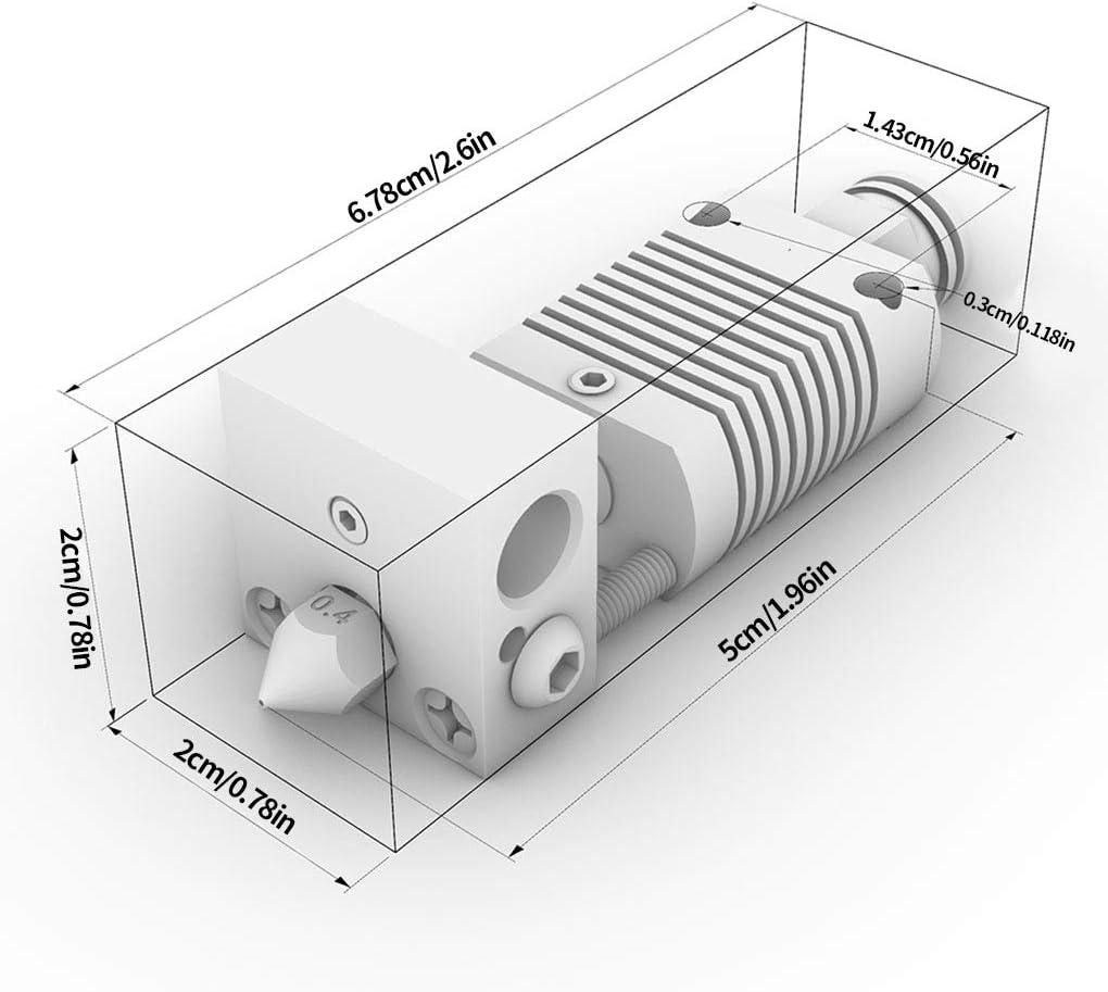 teng hong hui Hot End Extrudeuse Buse Kit 0.4mm Laiton Anet ET4 Chaud Buse Chauffe-Gorge pour Tubes Bloc de Remplacement Anet ET4 imprimante 3D
