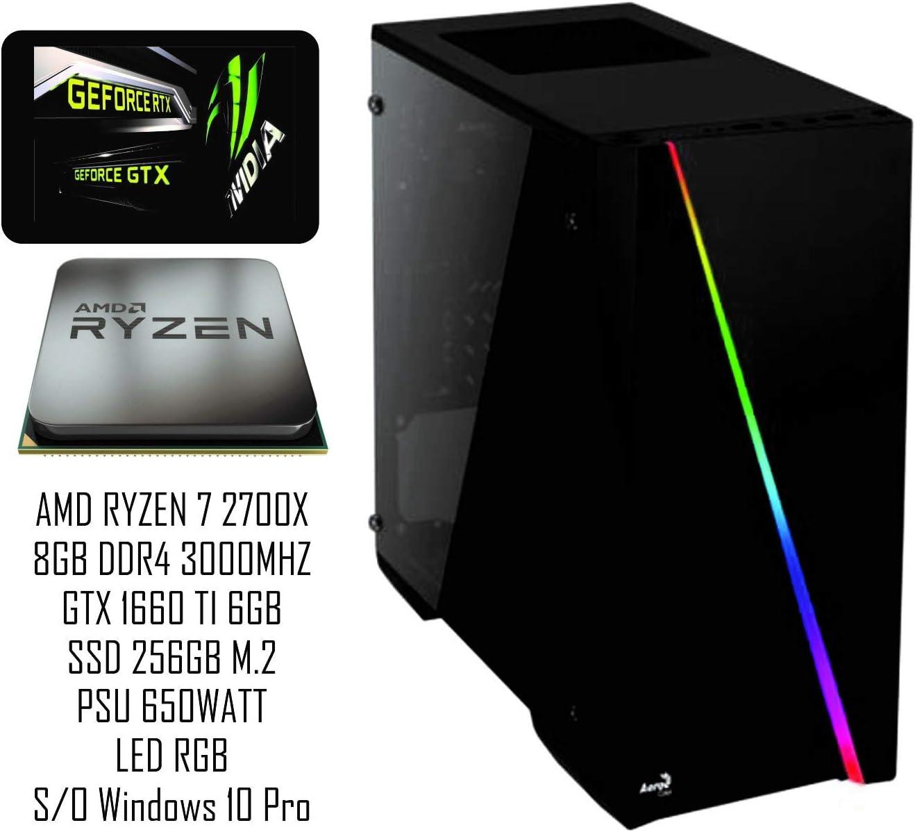 PC Gaming REDI AD4220TI AMD RYZEN 7 2700X A320M GTX 1660 TI 6GB 8GB DDR4 3000MHZ SSD 256GB M.2 650WATT Bronze: Amazon.es: Informática
