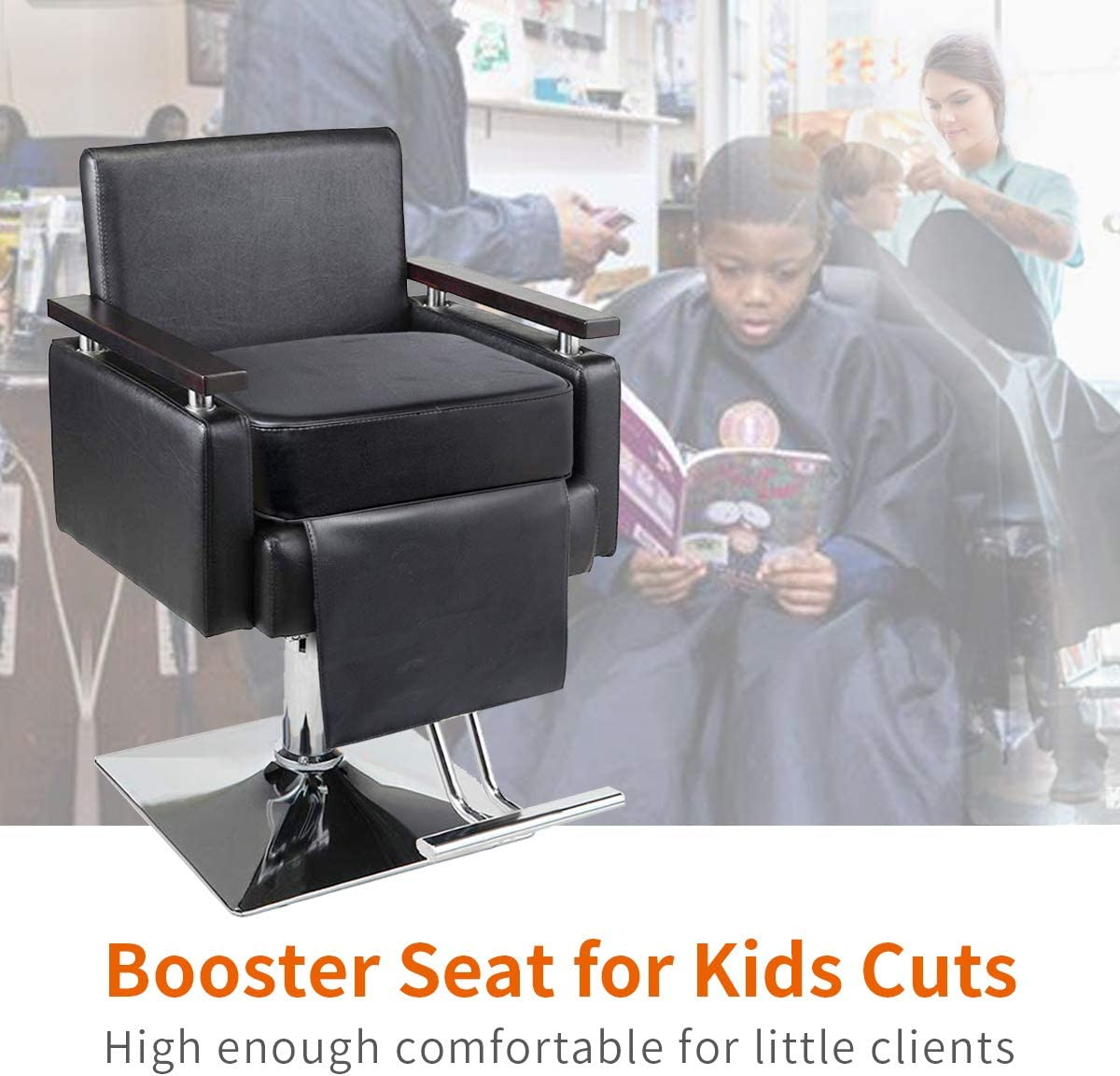 Rocktric Salon Booster Seat Cushion for Child Hair Cutting Barber Beauty Salon Spa Equipment Black: Kitchen & Dining