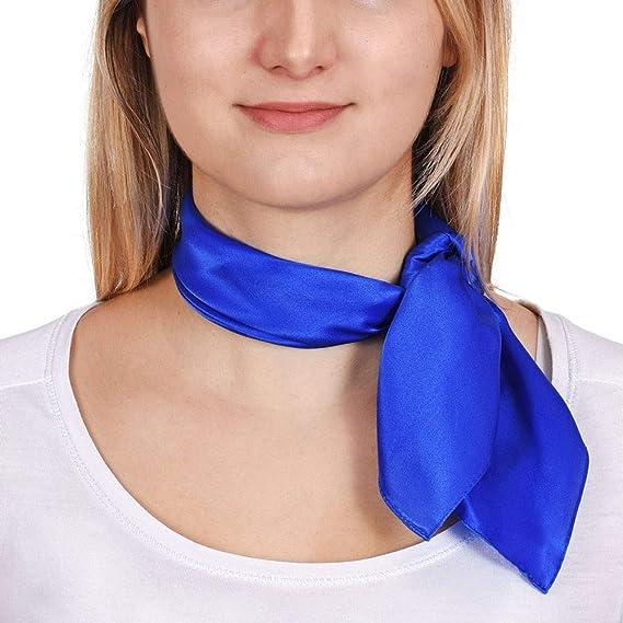 Allée du foulard Carré de soie Piccolo BLEU uni - 50x50 cm  Amazon ... a360fca6606
