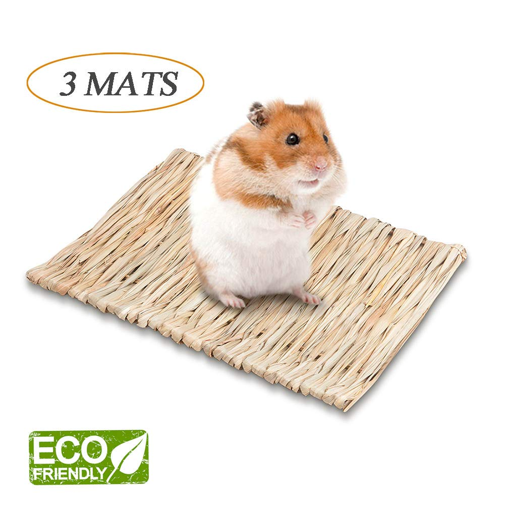 LucBuy 3 PCS Bunny Grass Mats, Natural Hand-Made Seagrass Chew Toy Woven Bed, Safe & Edible for Gerbils/Bunny/Hamster/Chinchillas/Guinea Pigs/Ferret and Other Small Animals