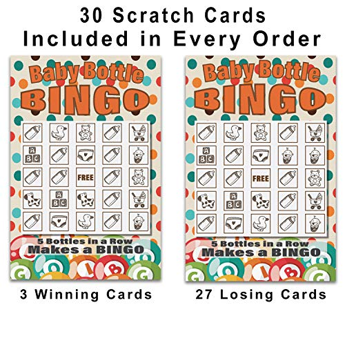 30 Pack Baby Shower Game | Scratch Off Lottery Cards Baby Bottle Bingo | Sprinkle Games by Braindango (Image #1)