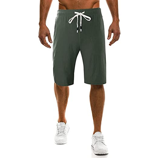 Men's Clothing Fashion Casual Summer Sports Men Drawstring Shorts Fitness Fifth Gym Trousers