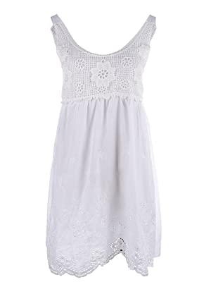 Anna-Kaci S/M Fit White Crochet Net Bodice Empire Waist Eyelet Scallop Hem Dress